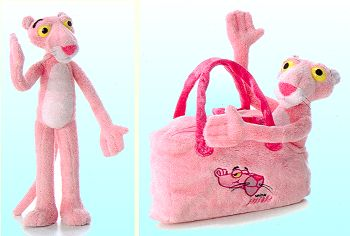 Plush Pink Panther with Carrier